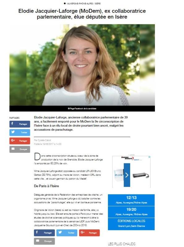 Elodie Jacquier-Laforge (MoDem), ex collaboratrice parlementaire, élue députée en Isère