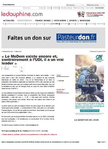Grenoble « Le MoDem existe encore et, contrairement à l¹UDI, il a un vrai leader »